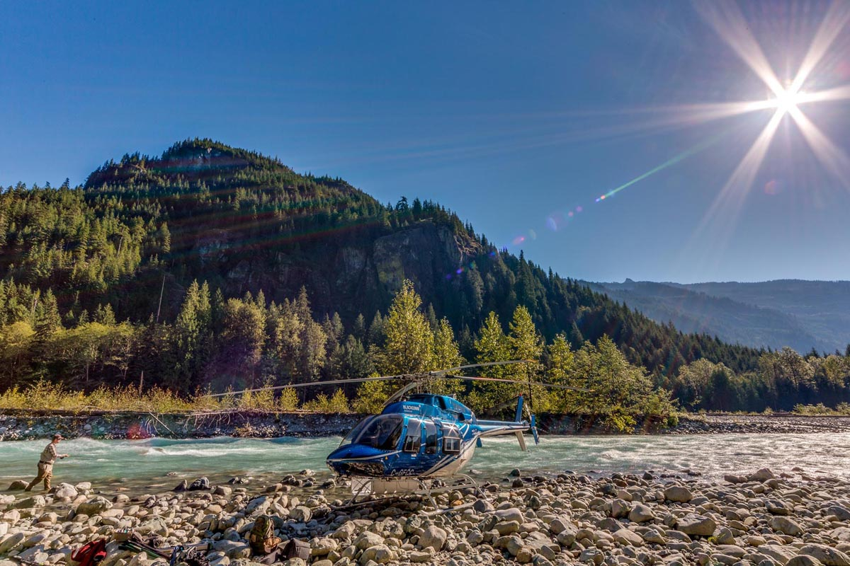 Guided helicopter fishing trips near Whistler