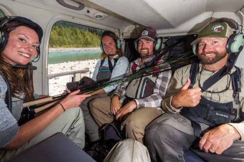 flying in a helicopter with fly rods