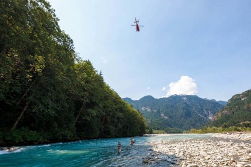 Helicopter Flies By Fly Fishers