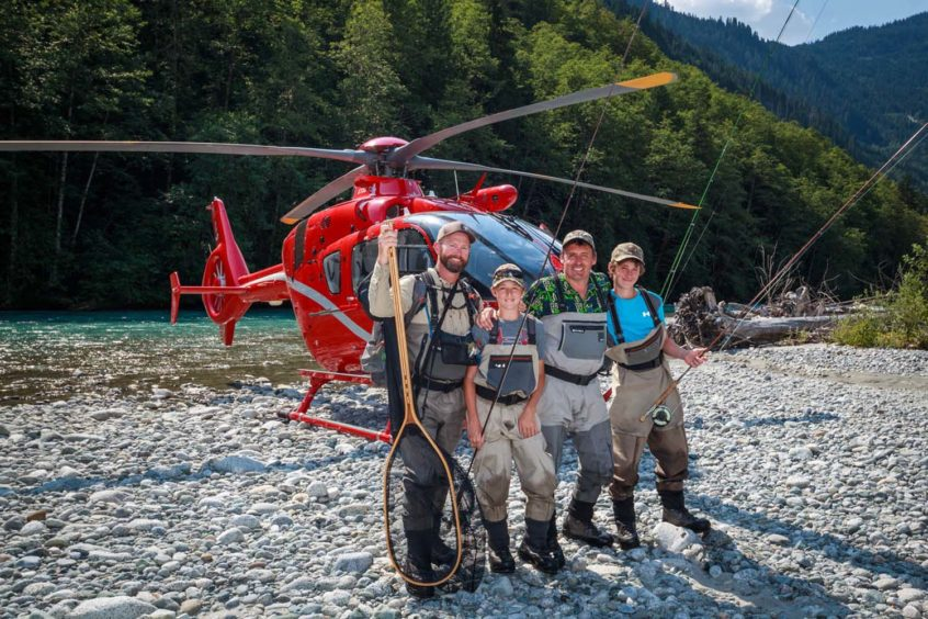 family heli-fishing near Whistler