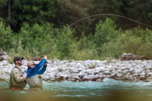 Fighting a big fish on a fly rod