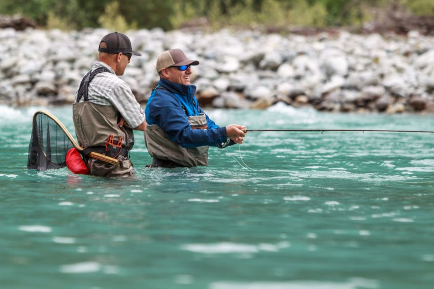 Guide coaching a new angler