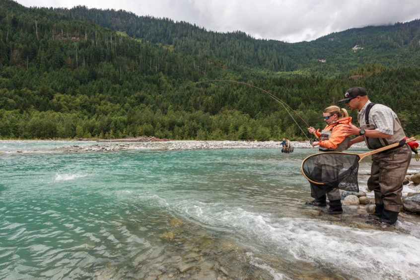 Hooked up on a big bull trout