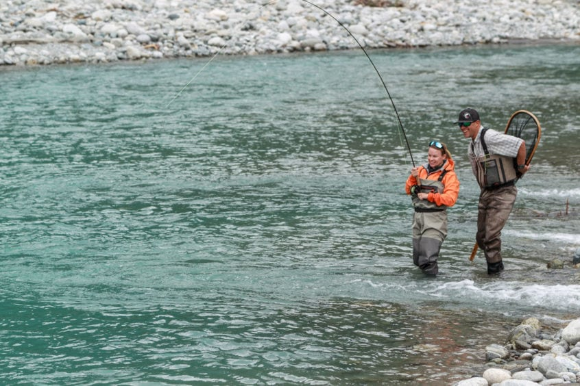 Hooked up on a bull trout near Whistler BC