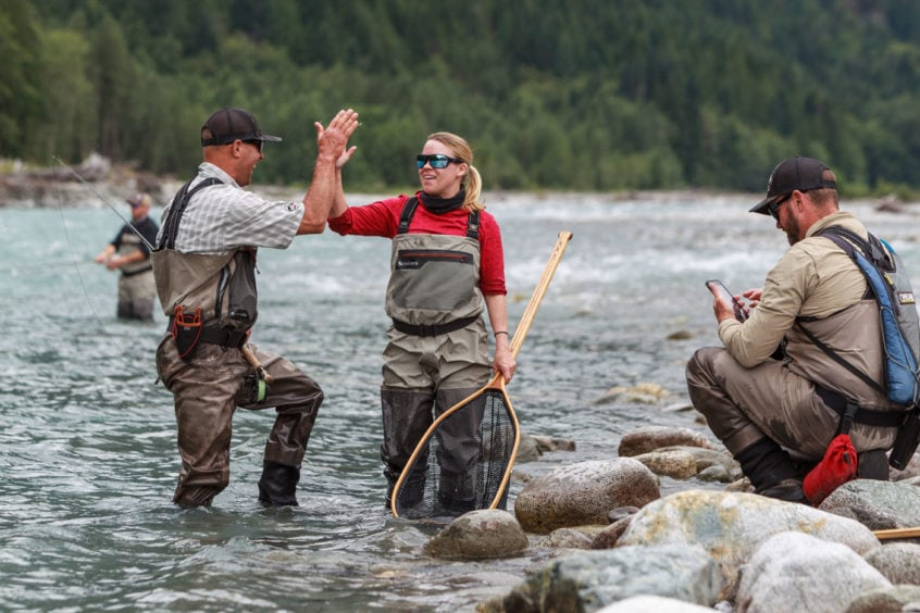 fly fishing high five