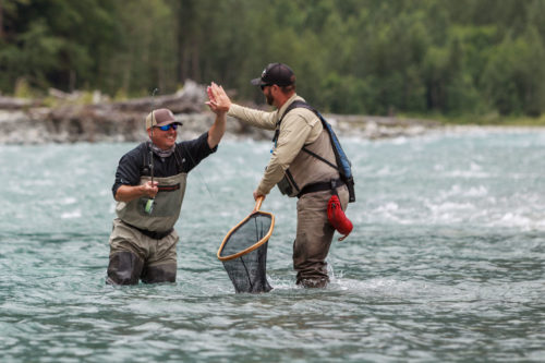 high five while fishing