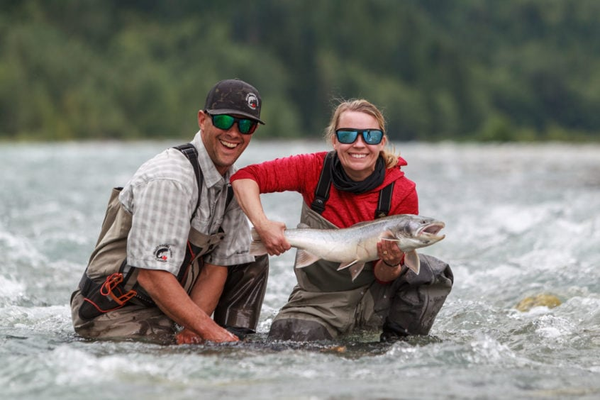 big bull trout caught fly fishing near Whistler