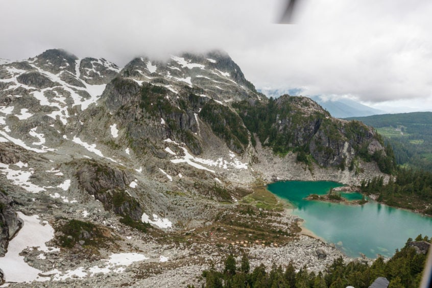 high mountain lake and glacier
